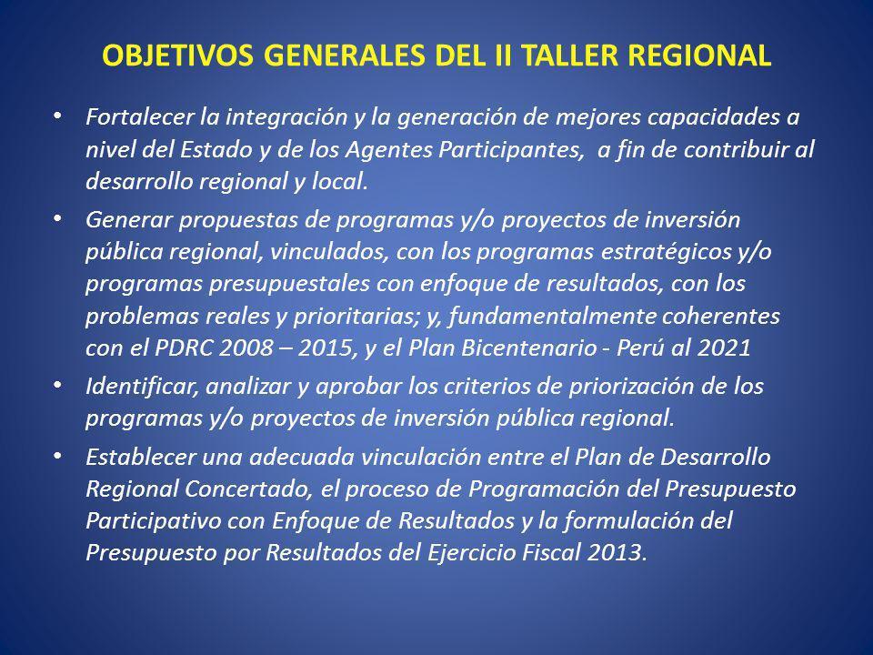 OBJETIVOS GENERALES DEL II TALLER REGIONAL Fortalecer la integración y la generación de mejores capacidades a nivel del Estado y de los Agentes Partic
