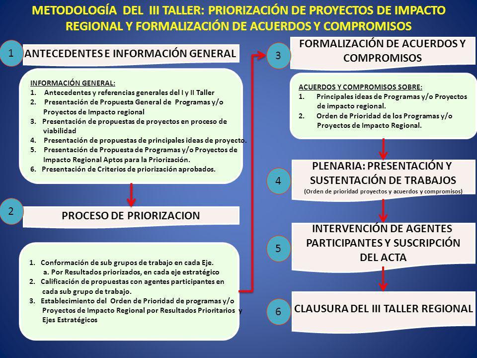 INFORMACIÓN GENERAL: 1.Antecedentes y referencias generales del I y II Taller 2.Presentación de Propuesta General de Programas y/o Proyectos de Impact