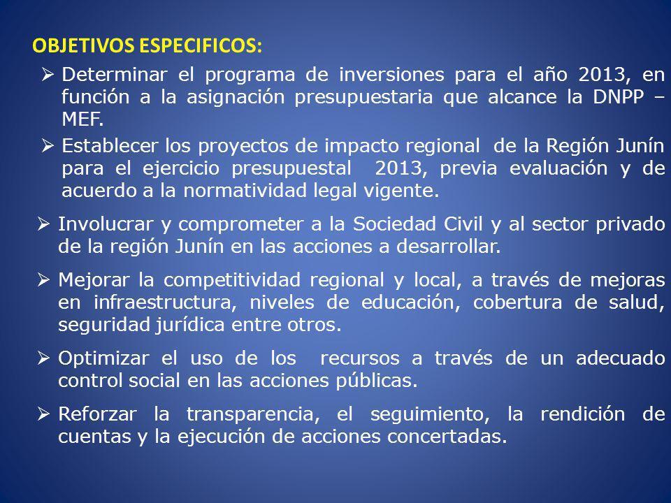 OBJETIVOS ESPECIFICOS: Determinar el programa de inversiones para el año 2013, en función a la asignación presupuestaria que alcance la DNPP – MEF. Es