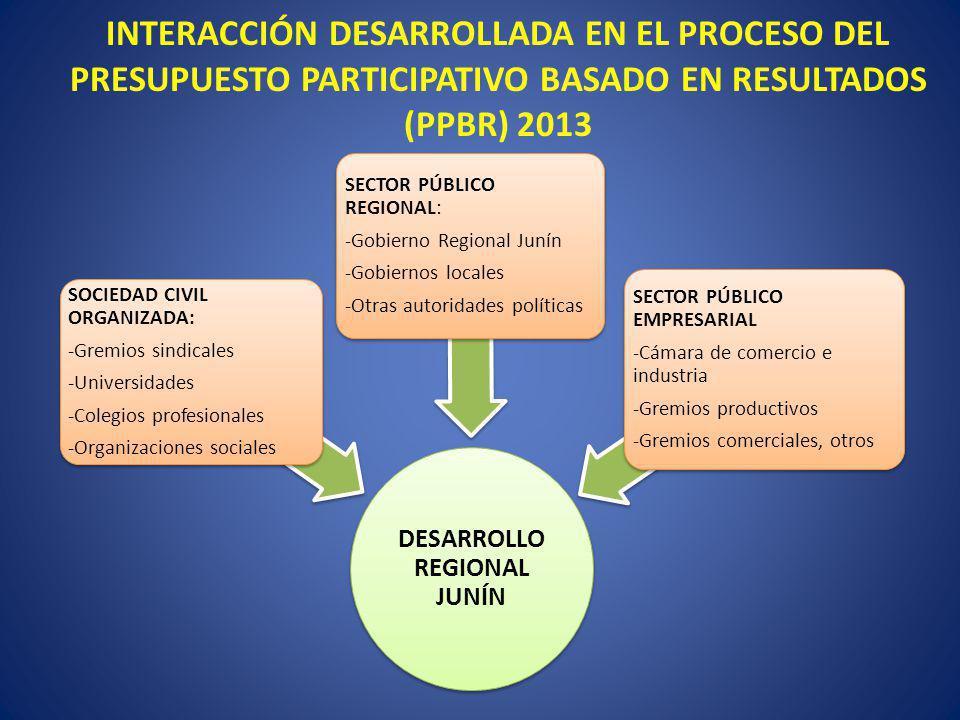 INTERACCIÓN DESARROLLADA EN EL PROCESO DEL PRESUPUESTO PARTICIPATIVO BASADO EN RESULTADOS (PPBR) 2013 DESARROLLO REGIONAL JUNÍN SOCIEDAD CIVIL ORGANIZ