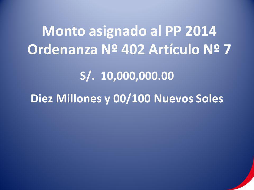 Monto asignado al PP 2014 Ordenanza Nº 402 Artículo Nº 7 S/. 10,000,000.00 Diez Millones y 00/100 Nuevos Soles