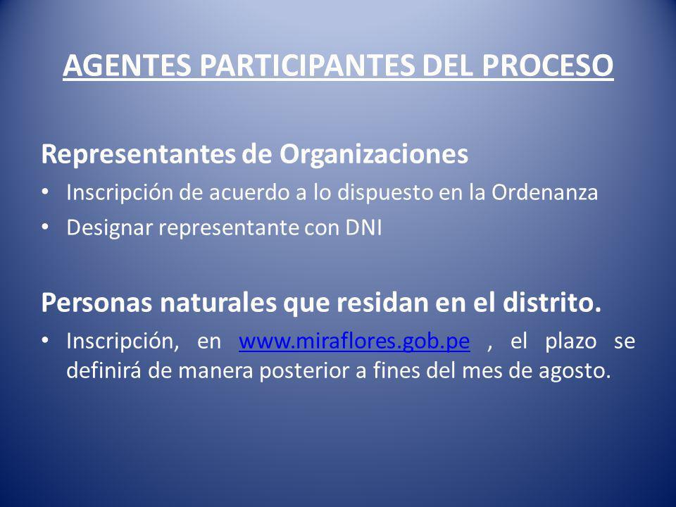 AGENTES PARTICIPANTES DEL PROCESO Representantes de Organizaciones Inscripción de acuerdo a lo dispuesto en la Ordenanza Designar representante con DN