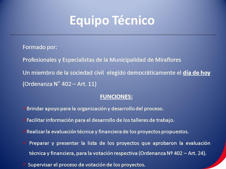 Formado por: Profesionales y Especialistas de la Municipalidad de Miraflores Un miembro de la sociedad civil elegido democráticamente el día de hoy (O
