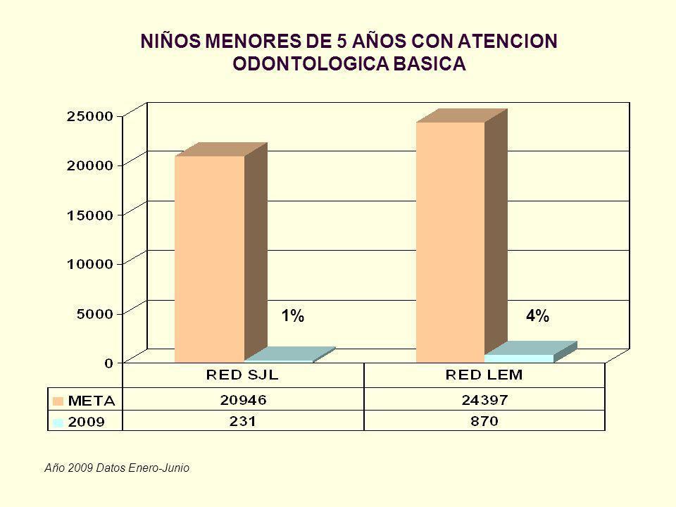 NIÑOS MENORES DE 5 AÑOS CON ATENCION ODONTOLOGICA BASICA Año 2009 Datos Enero-Junio 4%1%