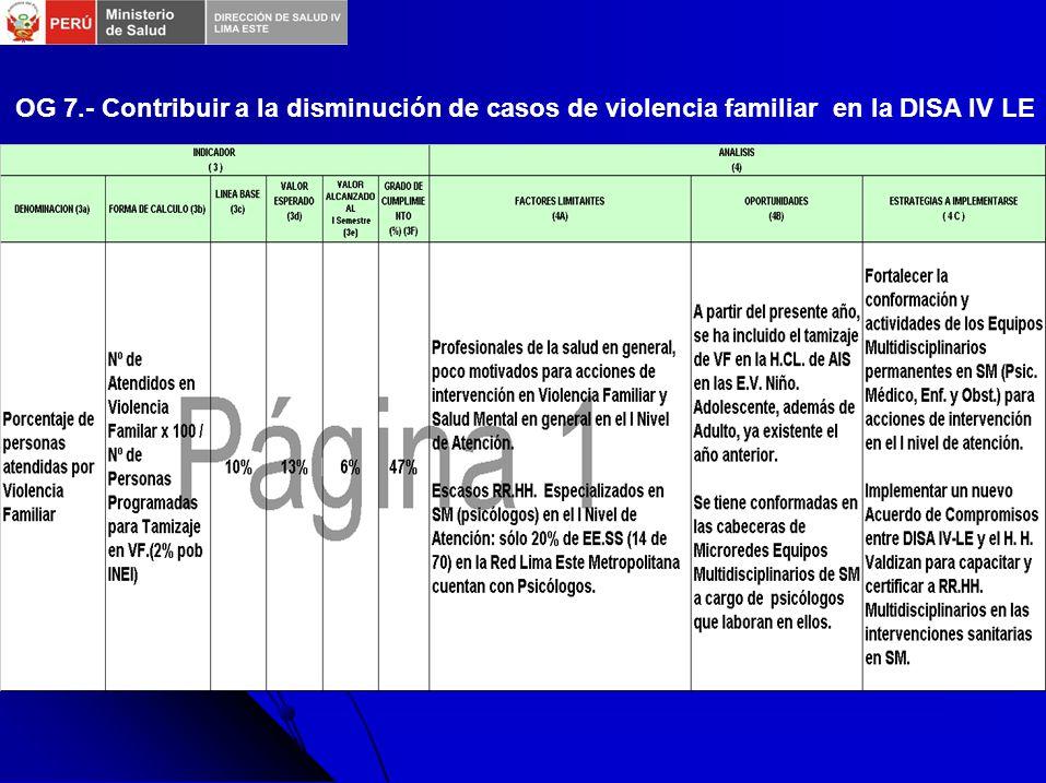 OG 7.- Contribuir a la disminución de casos de violencia familiar en la DISA IV LE