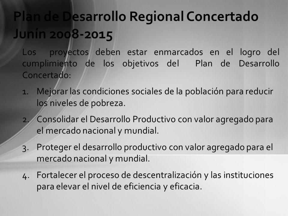 Los proyectos deben estar enmarcados para el logro de los objetivos nacionales por cada eje del Plan Bicentenario.