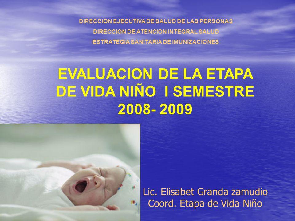 EVALUACION DE LA ETAPA DE VIDA NIÑO I SEMESTRE 2008- 2009 Lic. Elisabet Granda zamudio Coord. Etapa de Vida Niño DIRECCION EJECUTIVA DE SALUD DE LAS P