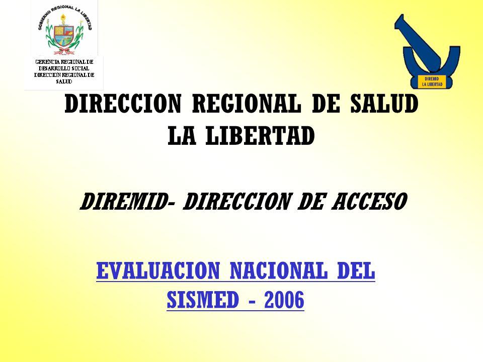 DIRECCION REGIONAL DE SALUD LA LIBERTAD DIREMID- DIRECCION DE ACCESO EVALUACION NACIONAL DEL SISMED - 2006