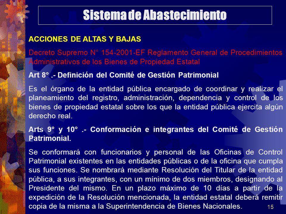 15 ACCIONES DE ALTAS Y BAJAS Decreto Supremo N° 154-2001-EF Reglamento General de Procedimientos Administrativos de los Bienes de Propiedad Estatal Ar