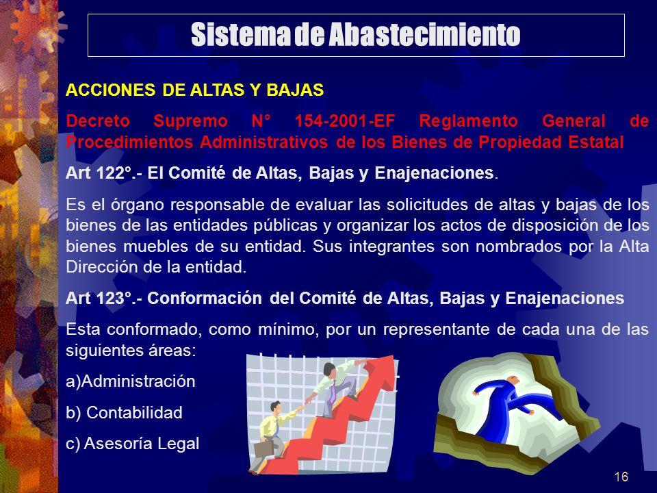 16 ACCIONES DE ALTAS Y BAJAS Decreto Supremo N° 154-2001-EF Reglamento General de Procedimientos Administrativos de los Bienes de Propiedad Estatal Art 122°.- El Comité de Altas, Bajas y Enajenaciones.