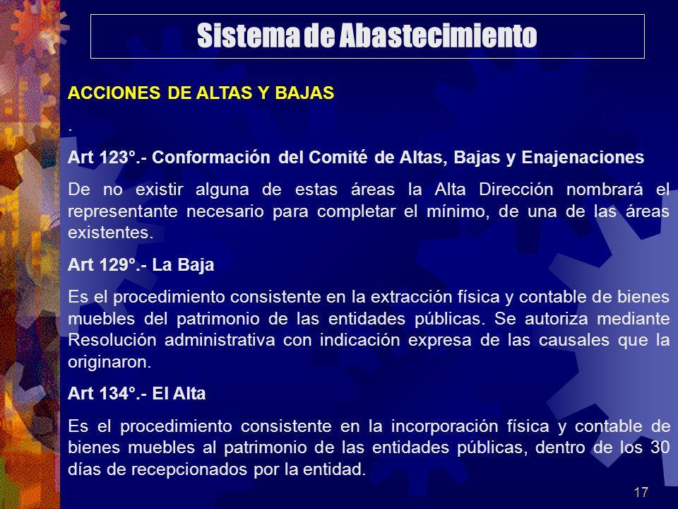 17 ACCIONES DE ALTAS Y BAJAS. Art 123°.- Conformación del Comité de Altas, Bajas y Enajenaciones De no existir alguna de estas áreas la Alta Dirección