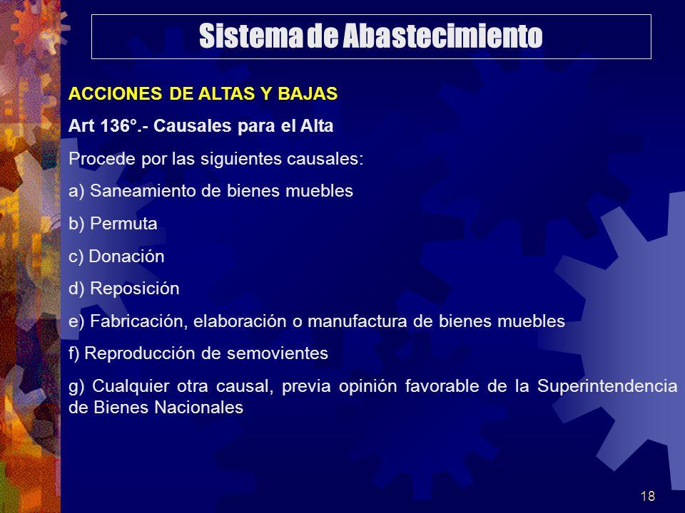18 ACCIONES DE ALTAS Y BAJAS Art 136°.- Causales para el Alta Procede por las siguientes causales: a) Saneamiento de bienes muebles b) Permuta c) Dona
