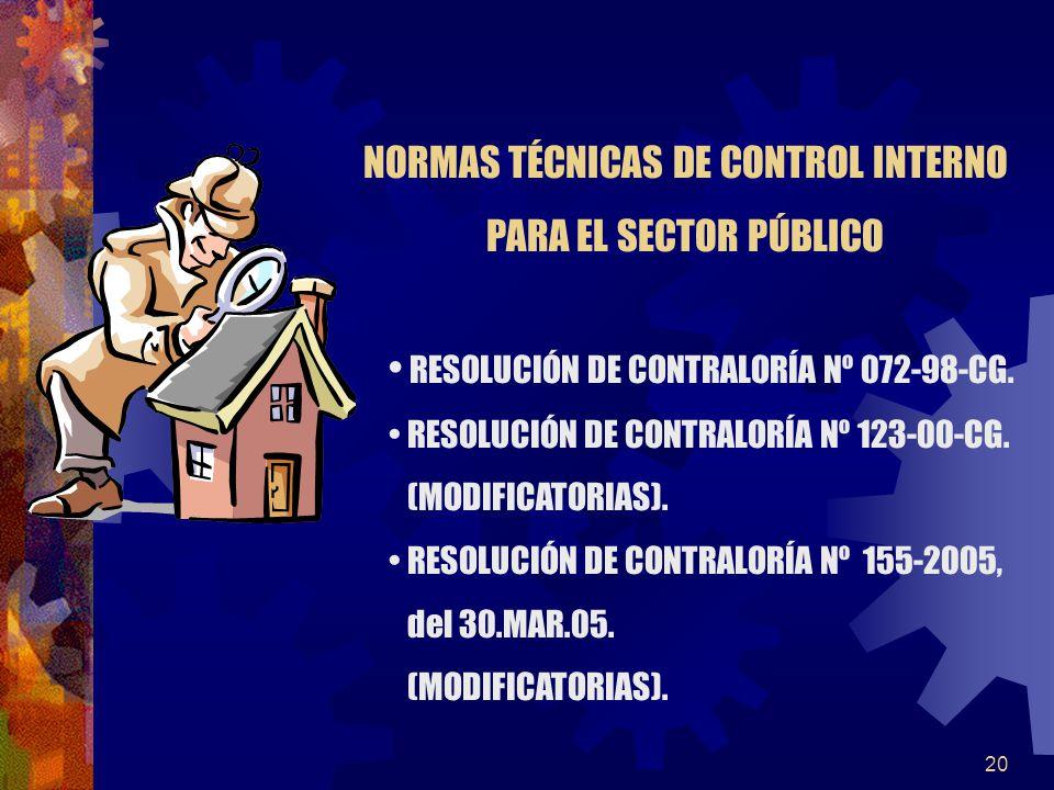 20 RESOLUCIÓN DE CONTRALORÍA Nº 072-98-CG. RESOLUCIÓN DE CONTRALORÍA Nº 123-00-CG. (MODIFICATORIAS). RESOLUCIÓN DE CONTRALORÍA Nº 155-2005, del 30.MAR