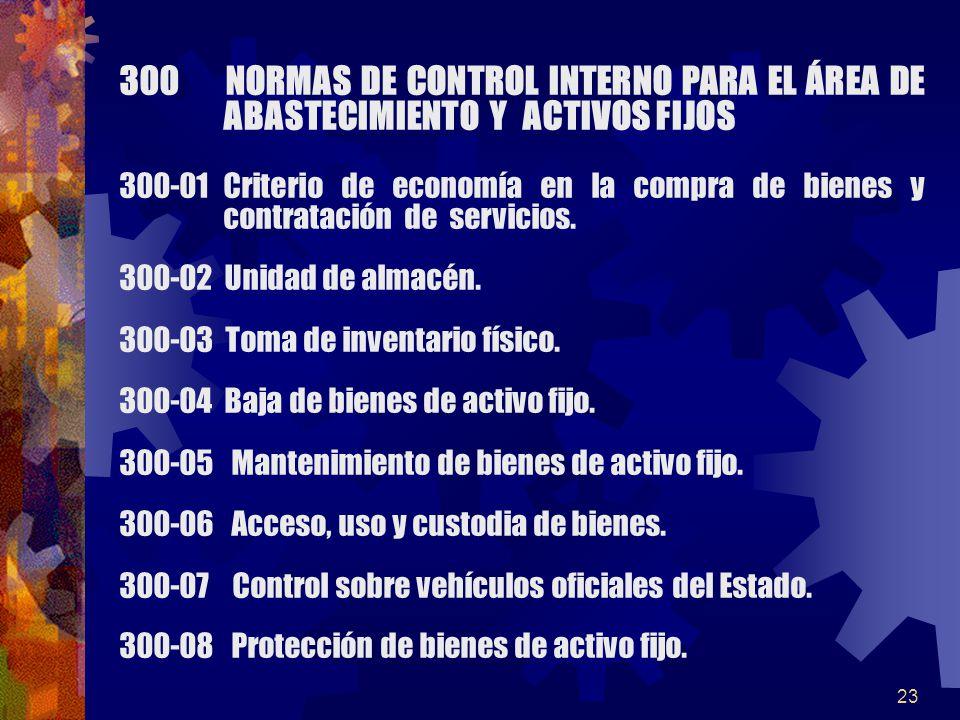 23 300 NORMAS DE CONTROL INTERNO PARA EL ÁREA DE ABASTECIMIENTO Y ACTIVOS FIJOS 300-01Criterio de economía en la compra de bienes y contratación de servicios.