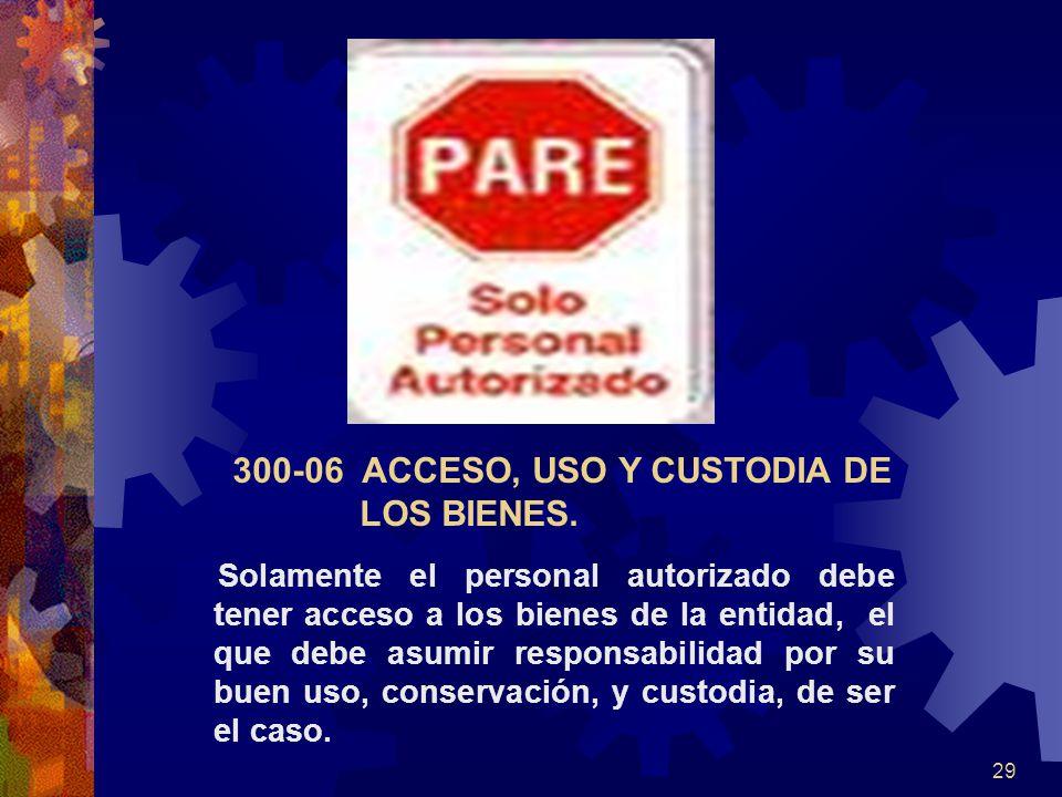 29 300-06 ACCESO, USO Y CUSTODIA DE LOS BIENES. Solamente el personal autorizado debe tener acceso a los bienes de la entidad, el que debe asumir resp