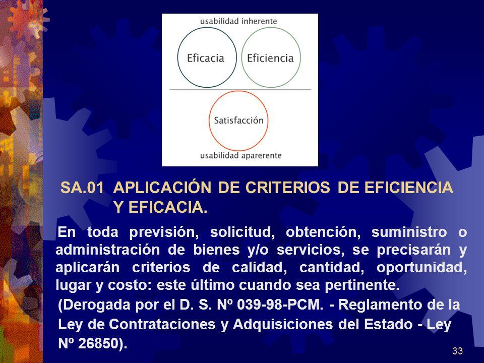 33 SA.01 APLICACIÓN DE CRITERIOS DE EFICIENCIA Y EFICACIA. En toda previsión, solicitud, obtención, suministro o administración de bienes y/o servicio