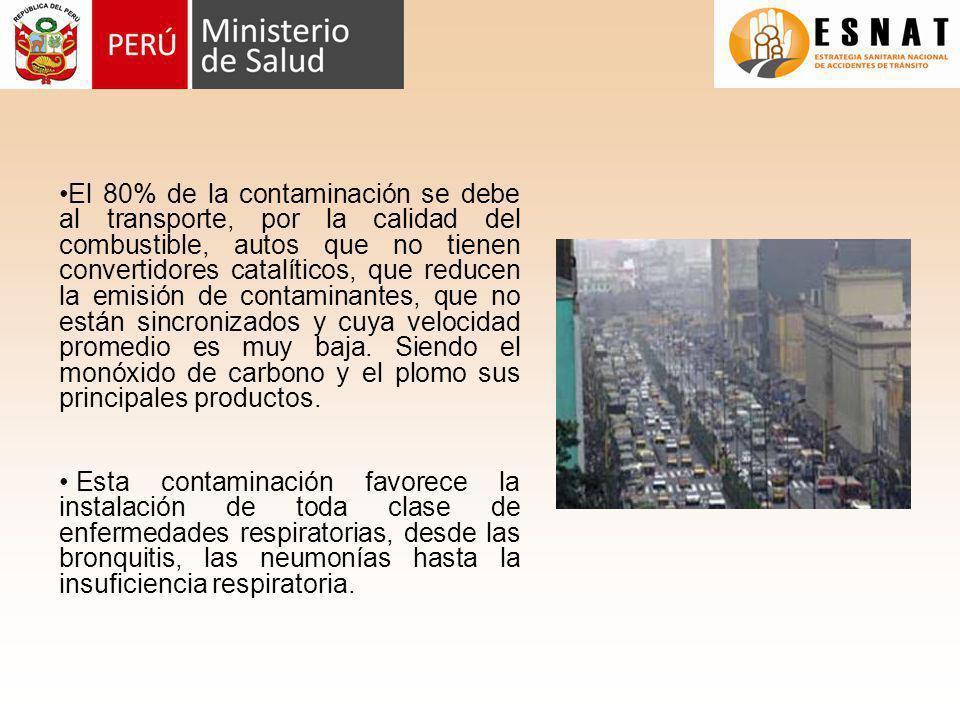 El 80% de la contaminación se debe al transporte, por la calidad del combustible, autos que no tienen convertidores catalíticos, que reducen la emisió