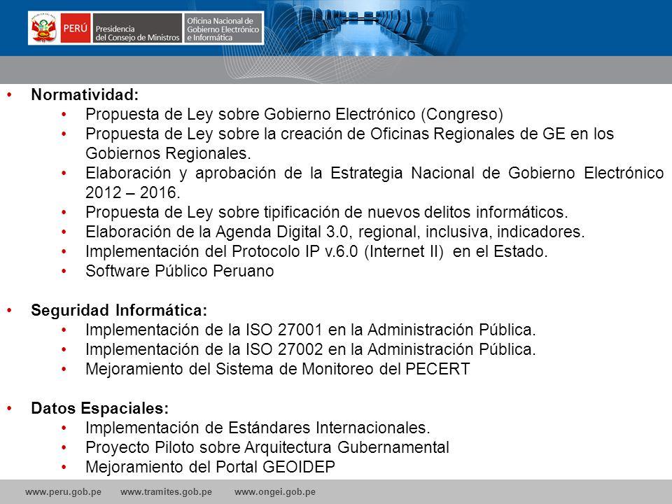 www.peru.gob.pe www.tramites.gob.pe www.ongei.gob.pe PROYECTOS 2012