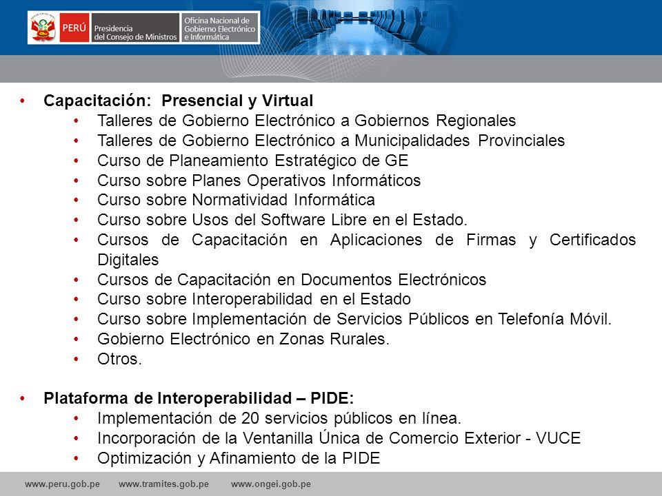 www.peru.gob.pe www.tramites.gob.pe www.ongei.gob.pe Normatividad: Propuesta de Ley sobre Gobierno Electrónico (Congreso) Propuesta de Ley sobre la cr