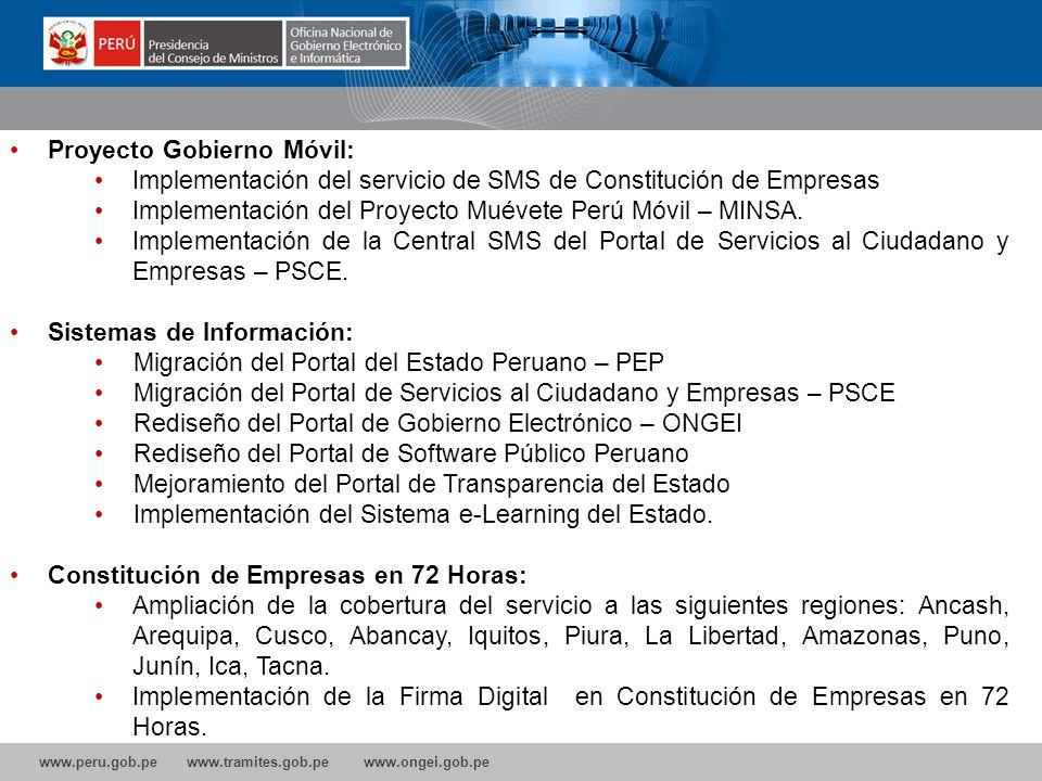 www.peru.gob.pe www.tramites.gob.pe www.ongei.gob.pe Capacitación: Presencial y Virtual Talleres de Gobierno Electrónico a Gobiernos Regionales Taller
