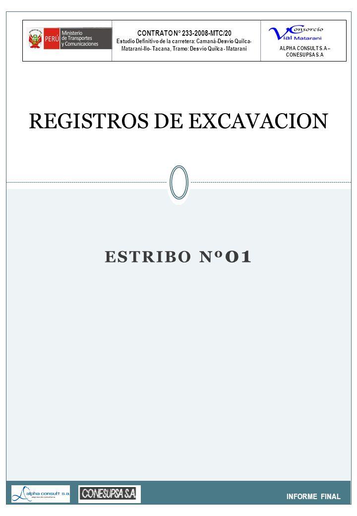CONTRATO N° 233-2008-MTC/20 Estudio Definitivo de la carretera: Camaná-Desvío Quilca- Matarani-Ilo- Tacana, Tramo: Desvío Quilca - Matarani INFORME FINAL REGISTROS DE EXCAVACION ALPHA CONSULT S.A – CONESUPSA S.A ESTRIBO Nº 01