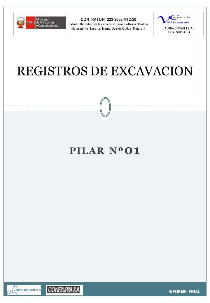 CONTRATO N° 233-2008-MTC/20 Estudio Definitivo de la carretera: Camaná-Desvío Quilca- Matarani-Ilo- Tacana, Tramo: Desvío Quilca - Matarani INFORME FINAL REGISTROS DE EXCAVACION ALPHA CONSULT S.A – CONESUPSA S.A PILAR Nº 01