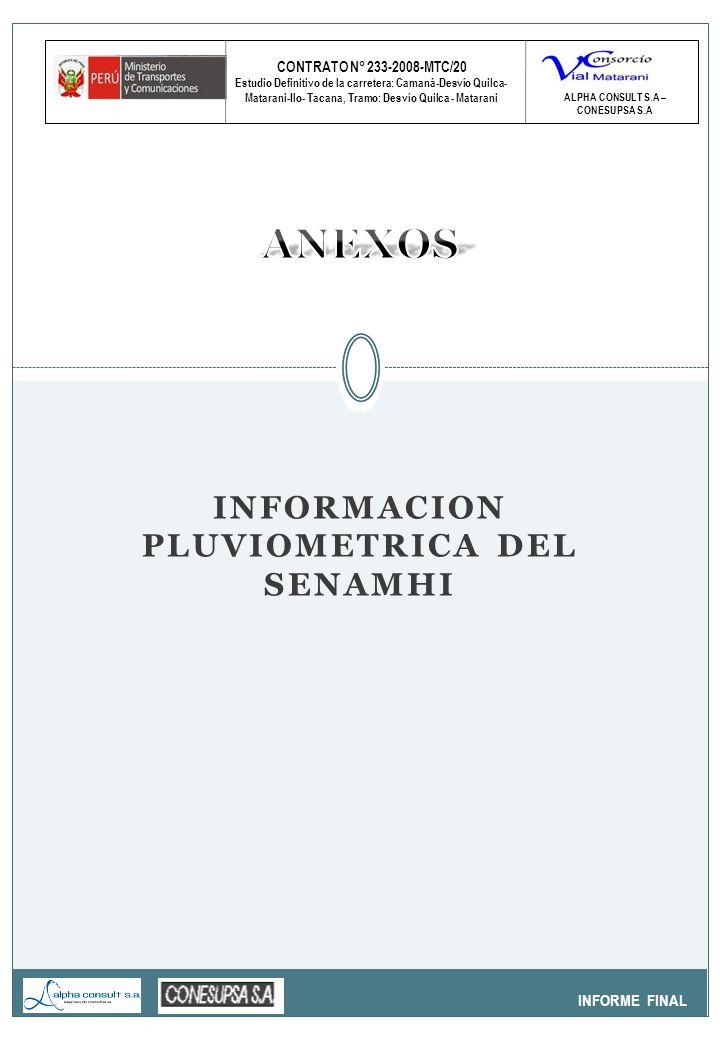 CONTRATO N° 233-2008-MTC/20 Estudio Definitivo de la carretera: Camaná-Desvío Quilca- Matarani-Ilo- Tacana, Tramo: Desvío Quilca - Matarani INFORME FINAL GRANULOMETRIA ALPHA CONSULT S.A – CONESUPSA S.A PILAR Nº 05