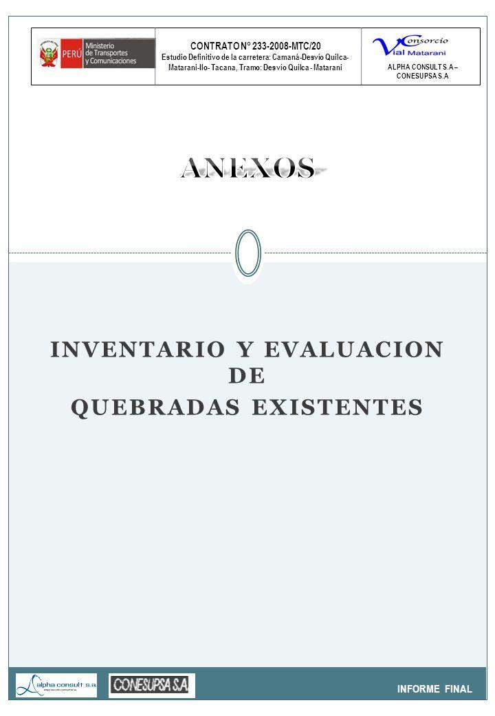 CONTRATO N° 233-2008-MTC/20 Estudio Definitivo de la carretera: Camaná-Desvío Quilca- Matarani-Ilo- Tacana, Tramo: Desvío Quilca - Matarani INFORME FINAL ALPHA CONSULT S.A – CONESUPSA S.A SUSTENTO ESTRUCTURAL ALCANTARILLAS PAD PROYECTADAS H= 35 M.