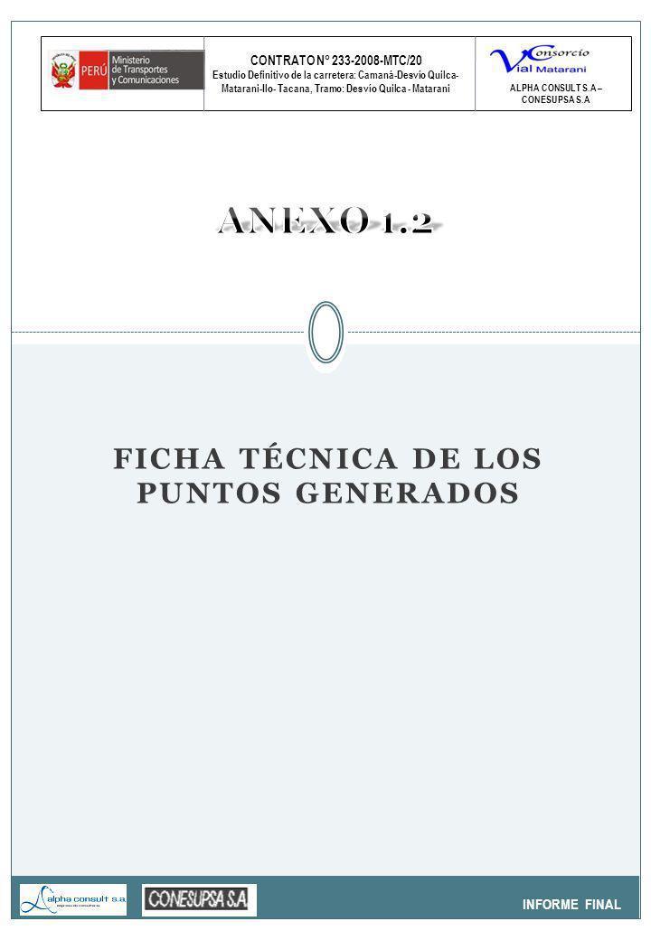 CONTRATO N° 233-2008-MTC/20 Estudio Definitivo de la carretera: Camaná-Desvío Quilca- Matarani-Ilo- Tacana, Tramo: Desvío Quilca - Matarani INFORME FINAL ALPHA CONSULT S.A – CONESUPSA S.A FICHA TÉCNICA DE LOS PUNTOS GENERADOS