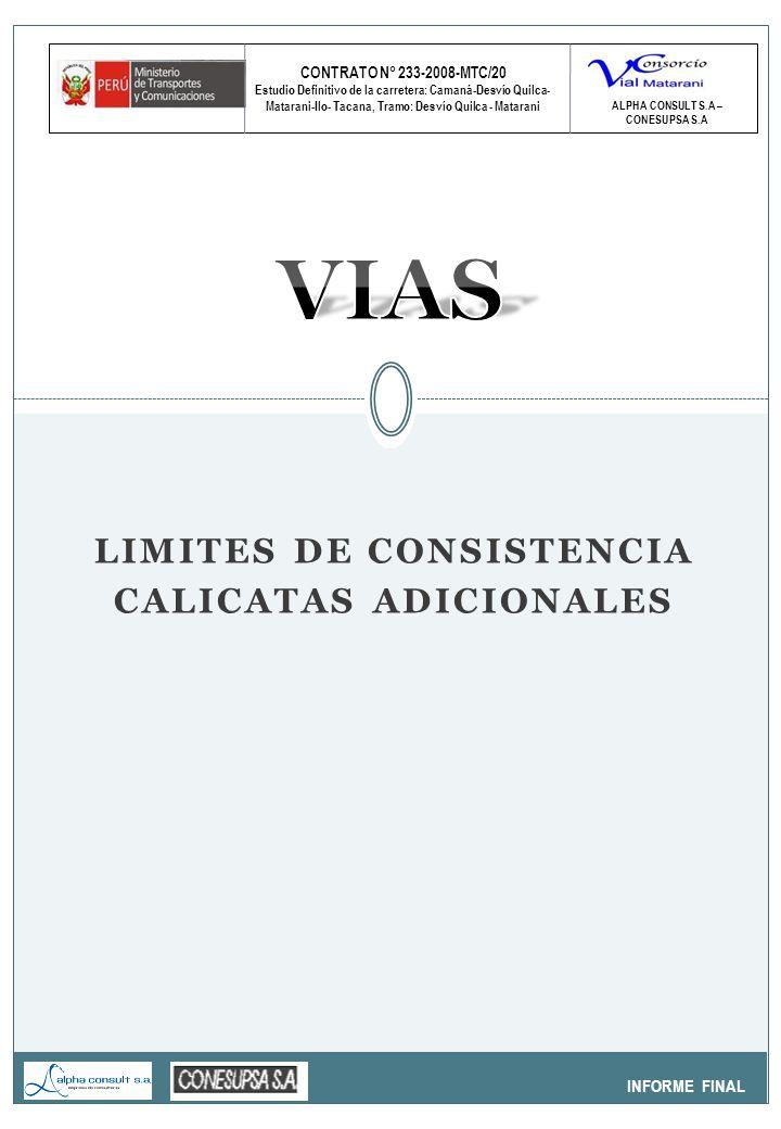 CONTRATO N° 233-2008-MTC/20 Estudio Definitivo de la carretera: Camaná-Desvío Quilca- Matarani-Ilo- Tacana, Tramo: Desvío Quilca - Matarani INFORME FINAL ALPHA CONSULT S.A – CONESUPSA S.A LIMITES DE CONSISTENCIA CALICATAS ADICIONALES