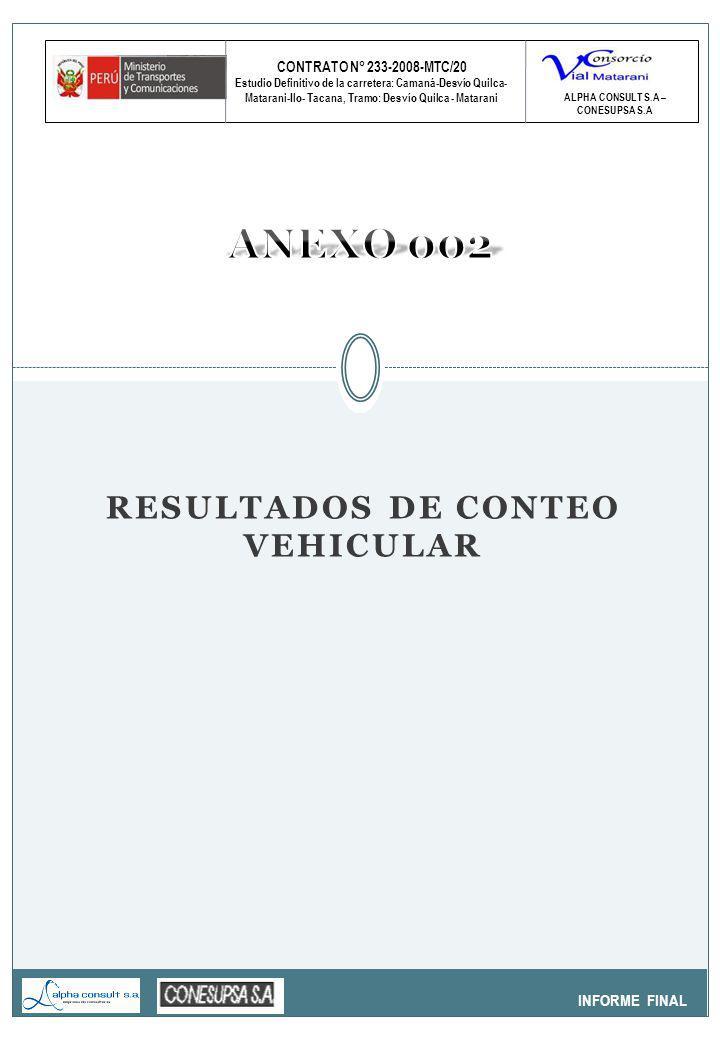 CONTRATO N° 233-2008-MTC/20 Estudio Definitivo de la carretera: Camaná-Desvío Quilca- Matarani-Ilo- Tacana, Tramo: Desvío Quilca - Matarani INFORME FINAL ALPHA CONSULT S.A – CONESUPSA S.A RESULTADOS DE CONTEO VEHICULAR