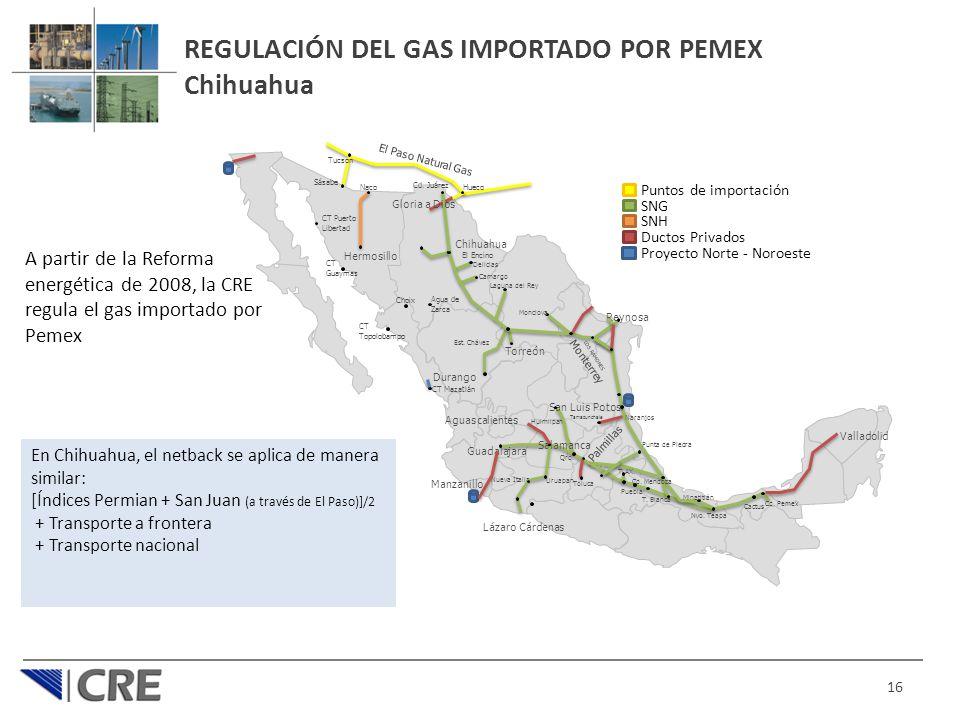 REGULACIÓN DEL GAS IMPORTADO POR PEMEX Chihuahua 16 Puntos de importación SNG SNH Proyecto Norte - Noroeste Ductos Privados Cd. Pemex Cactus Nvo. Teap