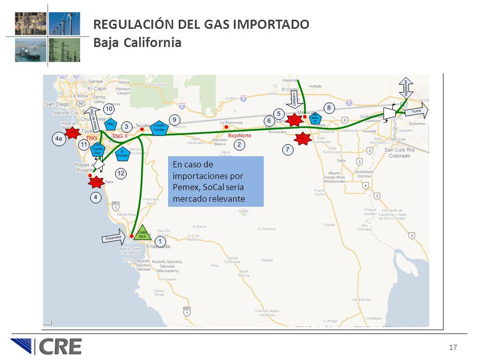 17 REGULACIÓN DEL GAS IMPORTADO Baja California En caso de importaciones por Pemex, SoCal sería mercado relevante
