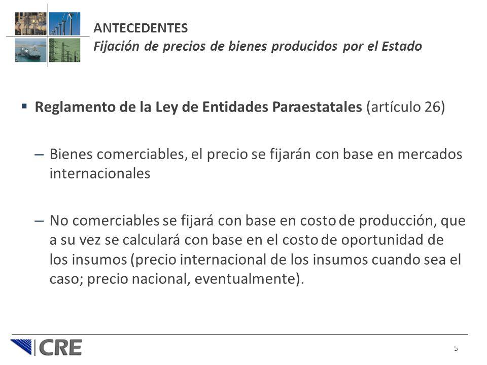 ANTECEDENTES Fijación de precios de bienes producidos por el Estado Reglamento de la Ley de Entidades Paraestatales (artículo 26) – Bienes comerciable