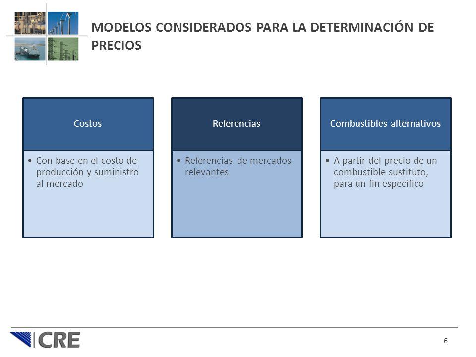 MODELOS CONSIDERADOS PARA LA DETERMINACIÓN DE PRECIOS Costos Con base en el costo de producción y suministro al mercado Referencias Referencias de mercados relevantes Combustibles alternativos A partir del precio de un combustible sustituto, para un fin específico 6