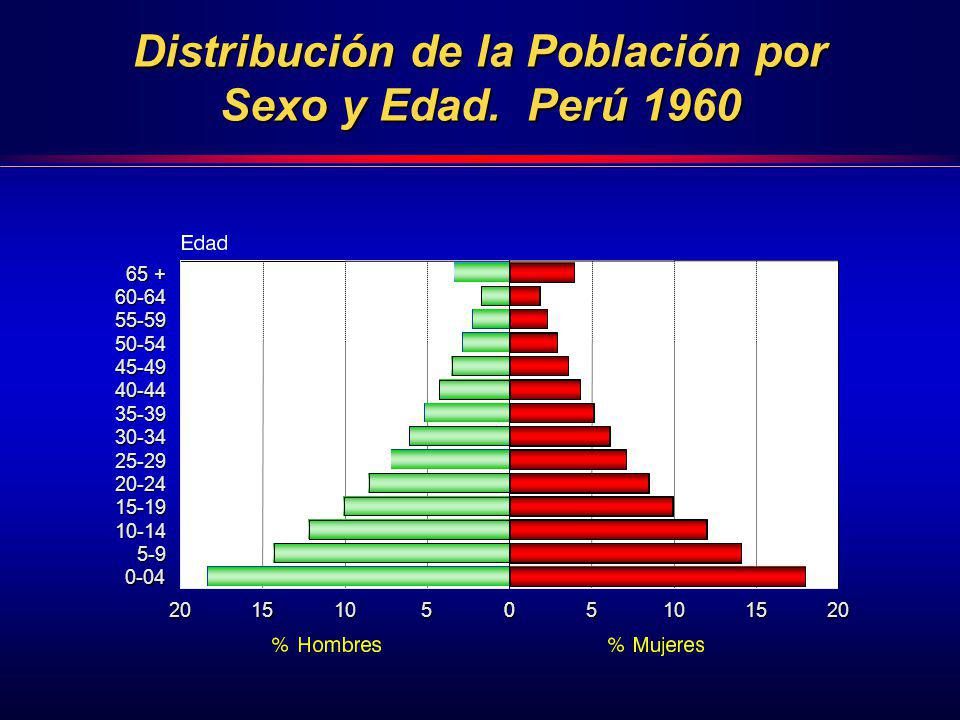 65 + 60-64 55-59 50-54 45-49 40-44 35-39 30-34 25-29 20-24 15-19 10-14 5-9 0-04 0-04 0510152005101520 Distribución de la Población por Sexo y Edad. Pe