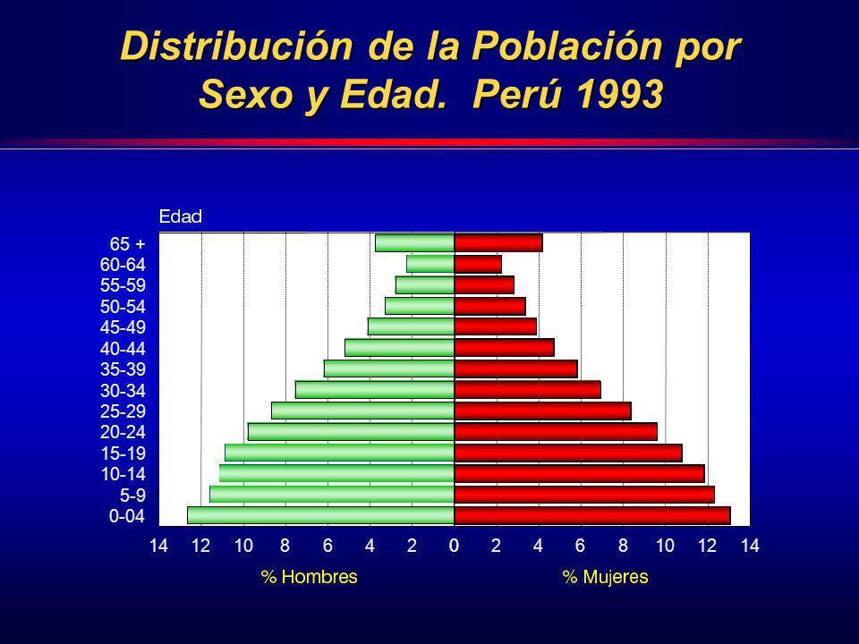 Distribución de la Población por Sexo y Edad. Perú 1993 65 + 60-64 55-59 50-54 45-49 40-44 35-39 30-34 25-29 20-24 15-19 10-14 5-9 0-04 02468101214024