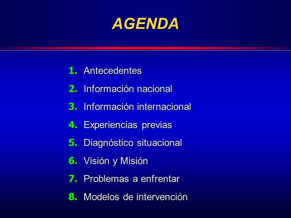 AGENDA 1. Antecedentes 2. Información nacional 3. Información internacional 4. Experiencias previas 5. Diagnóstico situacional 6. Visión y Misión 7. P