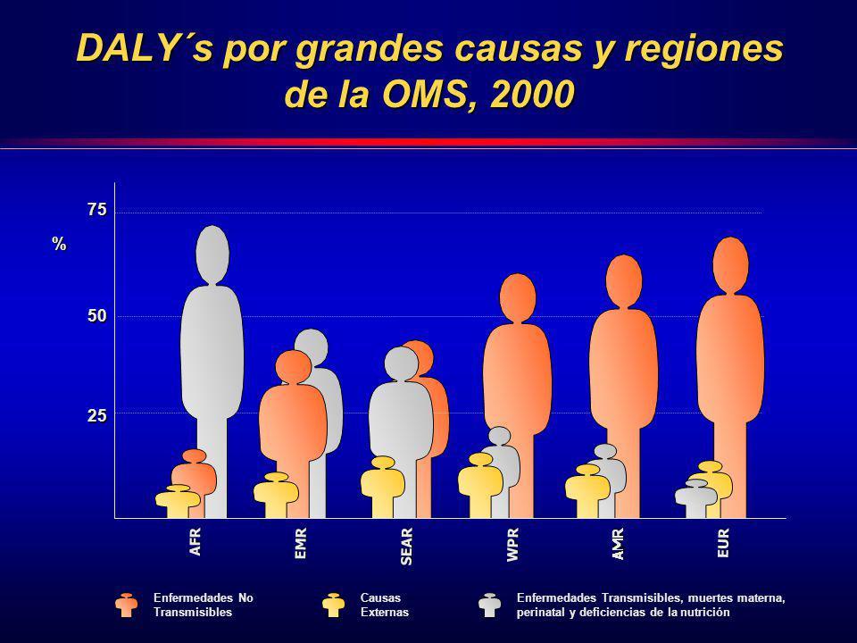 DALY´s por grandes causas y regiones de la OMS, 2000 Enfermedades Transmisibles, muertes materna, perinatal y deficiencias de la nutrición Enfermedade