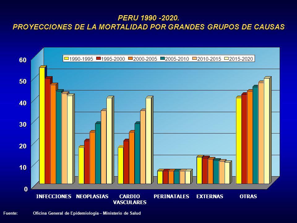 PERU 1990 -2020. PROYECCIONES DE LA MORTALIDAD POR GRANDES GRUPOS DE CAUSAS INFECCIONESNEOPLASIASCARDIO VASCULARES PERINATALESEXTERNASOTRAS 0 10 20 30