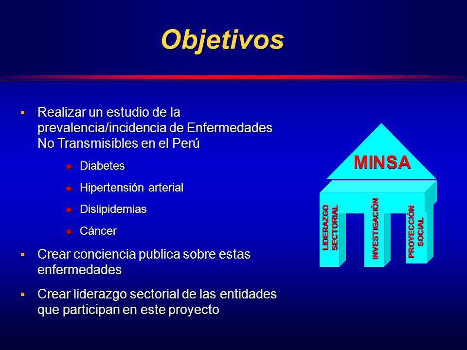 Objetivos Realizar un estudio de la prevalencia/incidencia de Enfermedades No Transmisibles en el Perú Realizar un estudio de la prevalencia/incidenci