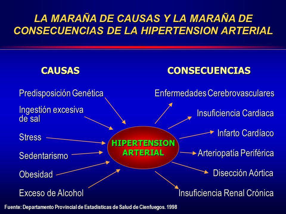 LA MARAÑA DE CAUSAS Y LA MARAÑA DE CONSECUENCIAS DE LA HIPERTENSION ARTERIAL CAUSASCONSECUENCIAS Predisposición Genética Ingestión excesiva de sal Str