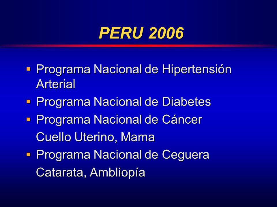 PERU 2006 Programa Nacional de Hipertensión Arterial Programa Nacional de Hipertensión Arterial Programa Nacional de Diabetes Programa Nacional de Dia