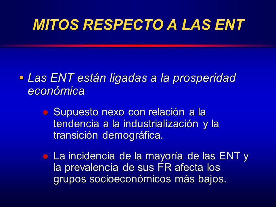 MITOS RESPECTO A LAS ENT Las ENT están ligadas a la prosperidad económica Las ENT están ligadas a la prosperidad económica Supuesto nexo con relación