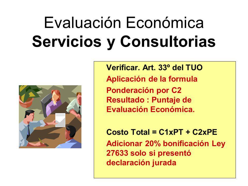 Evaluación Económica Seguros Monto Total = Form. Art. 66º Forma de Pago Costo Total = 0.4xPT + 0.6xPE Adicionar 20% bonificación Ley 27633 solo si pre