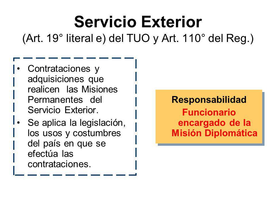 Secreto Militar u Orden Interno (Art. 19° literal d) del TUO, Art. 109° del Reg. y D.S. 052- 2001-PCM) Adquisiciones o contrataciones de las Fuerzas A