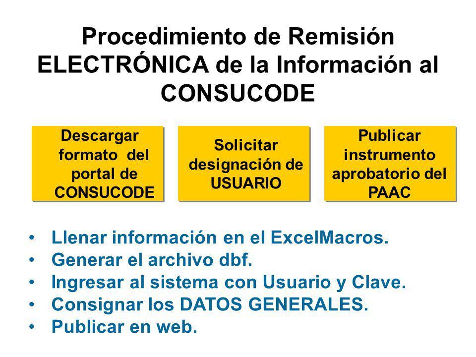 A.Vía Electrónica VÍA INTERNET En formato del Portal de CONSUCODE B.Por Excepción: Municipalidades Distritales autorizadas por CONSUCODE Remisión de la Información al CONSUCODE