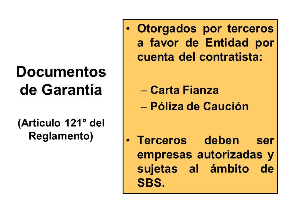 Requisitos de las Garantías (Artículo 121° del Reglamento) Incondicionales Solidarias Irrevocables De Realización Automática
