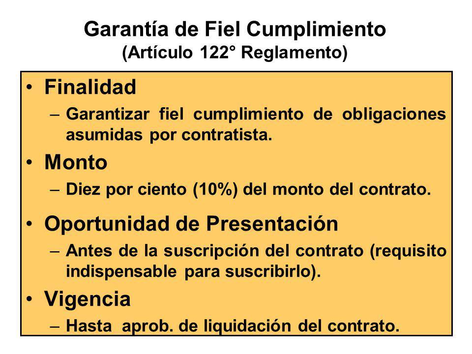 Tipos de Garantías (Artículo 40° del T.U.O de la Ley) De Fiel Cumplimiento (Adicional por prestaciones accesorias) Adicional por el Monto Diferencial