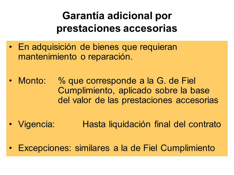 Garantía de Fiel Cumplimiento (Artículo 122° Reglamento) Finalidad –Garantizar fiel cumplimiento de obligaciones asumidas por contratista. Monto –Diez